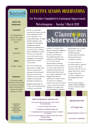 Effective Observations (Teaching, Learning & Assessment) – W'ton