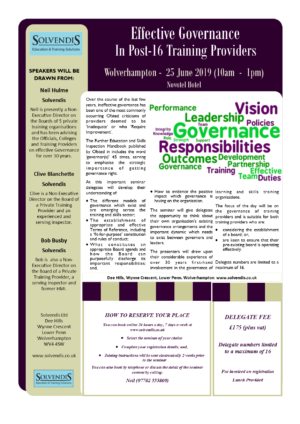 Effective Governance in Post-16 Training Providers – Wolverhampton