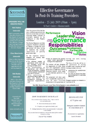 Effective Governance in Post-16 Training Providers – London