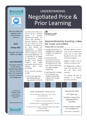 Negotiated Price & Prior Learning (Zoom Conferencing)