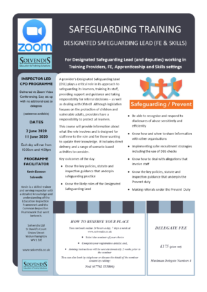 Designated Safeguarding Lead Training (Zoom Conferencing)