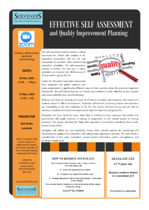 Effective Self Assessment & Improvement Planning (Zoom Conferencing)