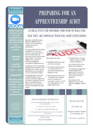 Preparing for an Apprenticeship Audit (Zoom Conferencing)